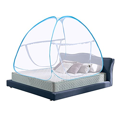 Pop Up Mosquito Net Bed Canopy Foldable Double Door with Bottom Anti Mosquito Bites for Baby Bed Camping Travel Home Outdoor Use Blue