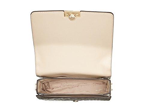 MICHAEL Michael Kors Jade Medium Gusset Clutch with crodd body chain, Champaign