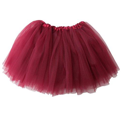 So Sydney Ballerina Basic Girls Ballet Dance Dress-Up Princess Fairy Costume Dance Recital Tutu (Burgundy/Maroon)