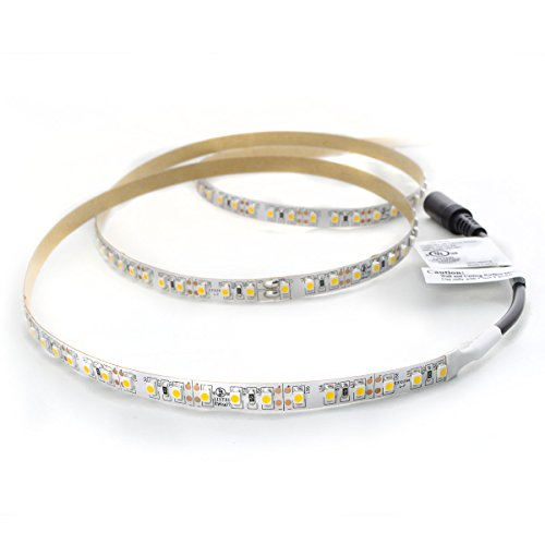 HitLights Cool White LED Light Strip, Premium High Density 3528 - 16.4 Feet, 600 LEDs, 5000K, 164 Lumens per Foot. 12V DC. UL-Listed