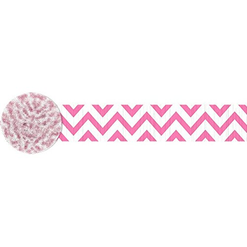 Amscan Party Perfect Chevron Printed Crepe Streamers Decorations, Bright Pink and White, Crepe Paper, 81', 1 Roll by Amscan