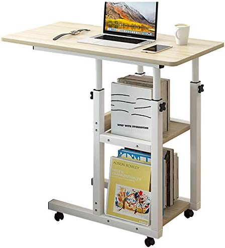 Home Office Desk 30×15'' Moveable Height Adjustable Modern Computer PC Notebook Writing Workstation Laptop Table