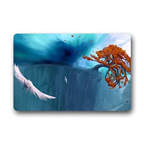 Custom It tree autumn bird flying water fish mountain Design Rectangular Decorative non slip Doormat 15.7 by 23.6 by 3/16-Inch