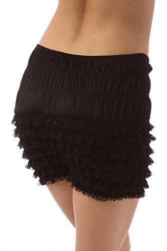 Ruffle Bloomers (Malco Modes Womens Sexy Ruffle Panties Tanga Dance Bloomers Sissy Booty Shorts Medium Black)