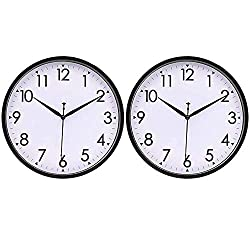 HIPPIH 2 Pack 10 Inch Wall Clocks, Silent Analog Modern Wall Clock Battery Operated Non Ticking Clock-Black