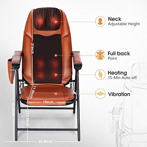Folding Massage Chair with Heat Mode and Kneading Rollers, Seat Vibration, and USB Charger, Neck & Back Muscle Kneading Massager