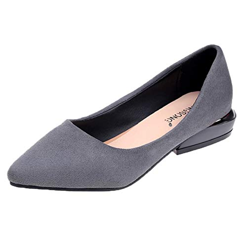 Women Ballet Shoes Flat Low Heels Slip On Shoes Basic Pointed Toe Flat by Lowprofile Gray ()