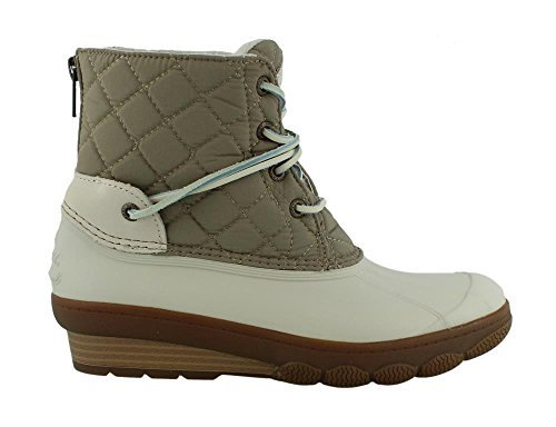 (Sperry Top-Sider Women's Saltwater Wedge Tide Quilted Nylon Rain Boot (6 B(M) US, Oat))