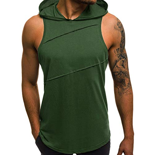 Tank Tops for Men,Men's Workout Hooded Printed Sports Vest Independence Day Tank Top Sleeveless Muscle T-Shirt Blouse D Green
