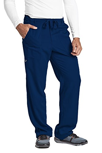 Grey's Anatomy Men's Big 6 Pocket Zip Fly Drawstring Scrub Pant,Indigo,Medium (Pocket Drawstring Pant)