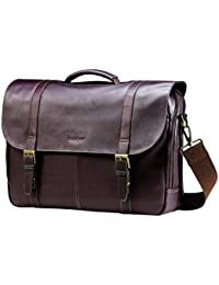 Colombian Leather Flap-Over Messenger Bag Laptop, Brown, One Size