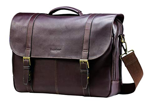 (Samsonite Leather Flapover Case Double Gusset Brown)