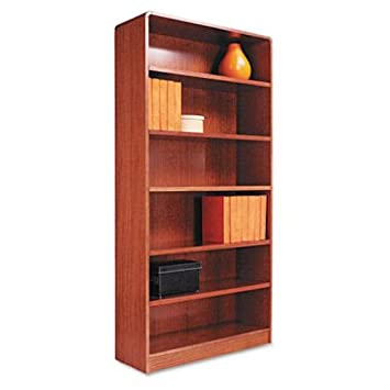 Alera Radius Corner Bookcase, Finished Back, Wood Veneer, 6-Shelf, 36 W by 12 D by 72 H, Medium Oak