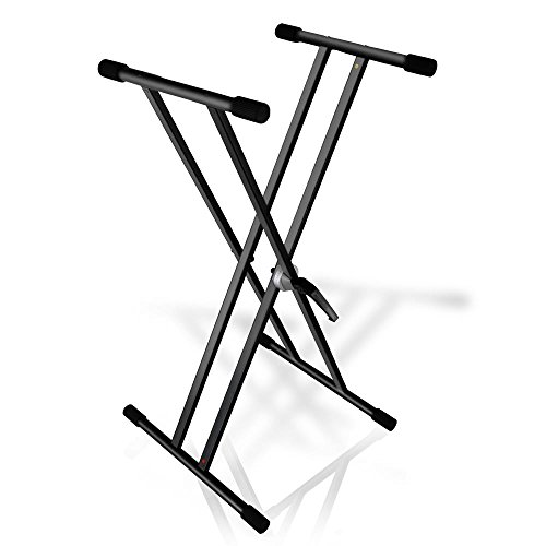 Pyle Universal Double X Style Keyboard Piano Stand , Electronic Digital Piano DJ Table Mount Holder, Height Adjustable Stand (PKS40) (Brace Double X-style)