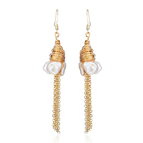 MIDE Baroque Pearl Earrings for Women - Pearl Earrings Sterling Silver & Gold, Freshwater Cultured Pearl Earrings Dangle (2.76) ()