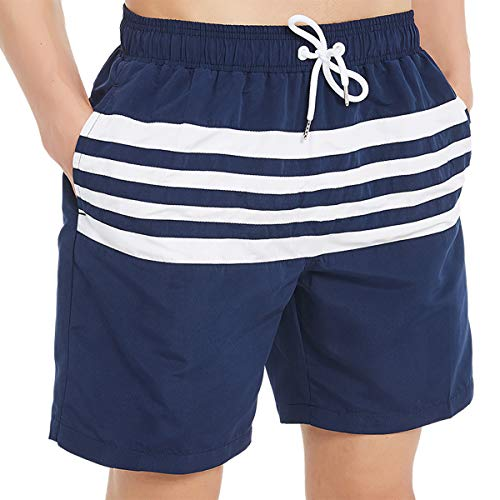 - Kailua Surf Mens Swim Trunks, Quick Dry Mens Boardshorts, 7 Inches Inseam Mens Bathing Suits with Mesh Lining (Medium, Striped Blue)