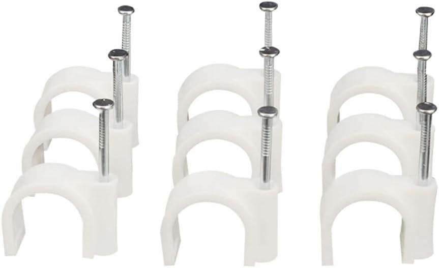 Ogquaton 100pcs rond c/âble plat pince pince de serrage avec clou de fixation pour la gestion des fils blanc robuste et rentable