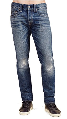 (True Religion Men's Rocco Relaxed Skinny Fit Studded Jeans in Lost Horizon (32, Lost Horizon))