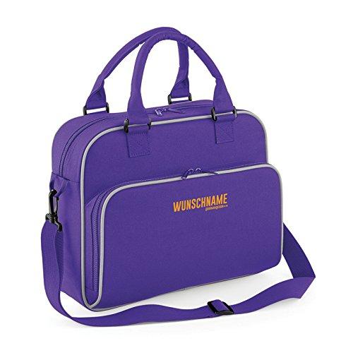 Stylische Buisnesstasche für Damen : Tasche mit IHREM persönlichem Schriftzug -- Aktentasche Damen Farbe: lila