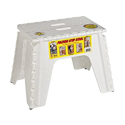 "B&R Plastics 103-6WH E-Z Foldz Folding Step Stool - 12"", White: Automotive"