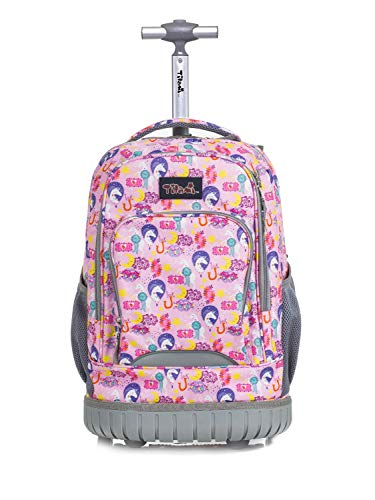 Tilami Rolling Backpack 18 inch Wheeled Laptop Backpack Waterproof School College Student Travel Trip Boys and Girls, Unicorn
