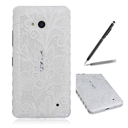 Trumpshop Smartphone Carcasa Funda Protección para Microsoft Lumia 640 + Flor de Ciruelo + Ultra Delgado Suave Flexibles TPU Silicona Resistente a arañazos Caja Protectora Diseño de la flor blanca retro