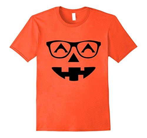 Mens Nerdy Halloween Pumpkin Face Funny Halloween T-Shirt Large (Cool Nerdy Halloween Costumes)