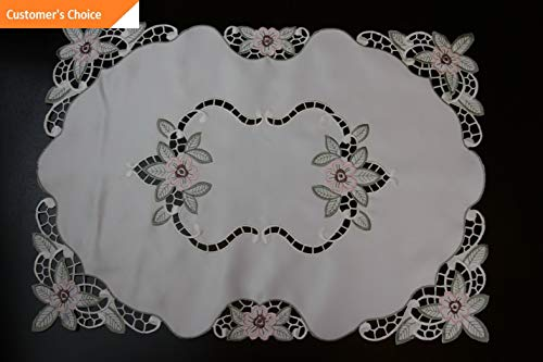 Kaputar Embroidered Green Pink Floral Embroidery Cutwork Placemat Table Runner Polyester | Model TBLCLTH - 1520 | 16x72034 ()