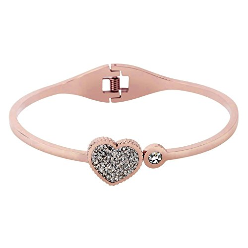 KnSam Women Stainless Steel Cuff Bracelets Heart & Round Crystal Rose Gold [Novelty - Neoprene Necklaces Sterling Silver Clasp