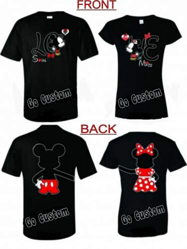 efb6f278f763 Mickey and Minnie Love Soul Mate Disney Couple Matching T-Shirts (2XL Black,