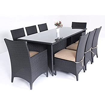 Milano 9 Piece Patio Furniture Outdoor Dining Set Black Or Brown Wicker