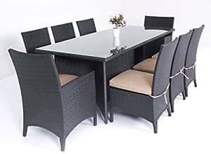 Milano 9 Piece Patio Furniture Outdoor Dining Set Black or Brown Wicker