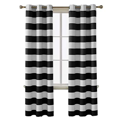 ckout Curtains Grommet Black and Greyish White Room Darkening Curtains for Bedroom 38W X 84L Black 2 Panel Curtains ()