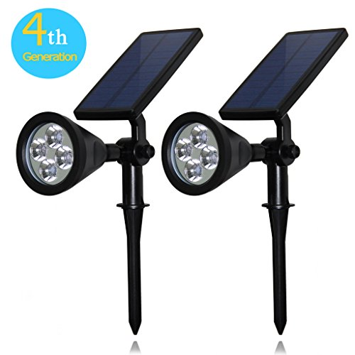Solar-Lights-CREATIVE-DESIGN-Solar-Spotlight-Outdoor-Garden-Landscape-Lighting-350-Angle-Adjustable-Waterproof-Wall-Light-Security-Light-with-Auto-OnOff-Black2-PCS-Pack