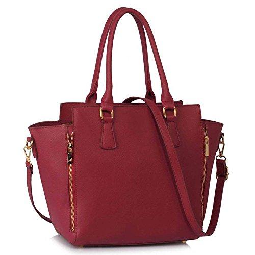TrendStar - Bolso de tela para mujer Burgundy Handbag
