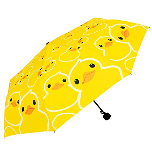 Amazon.com | Kung Fu Smith Yellow Boys Small Cute Duck Print Compact Stick Rain Umbrella, Compact | Umbrellas