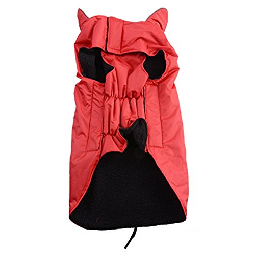 AGPtek Universal Waterproof Fleece Pets Dogs Clothes Soft Cozy Outdoor Winter Padded Vest Coat Jacket For Dogs L/XL/XLL/XLLL (XLL, Red)