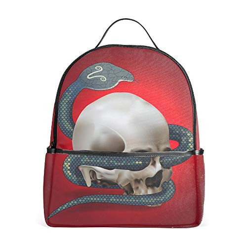 (School Backpack Human Skull Entwined By Snake Print Travel Leisure Daypack Bag)