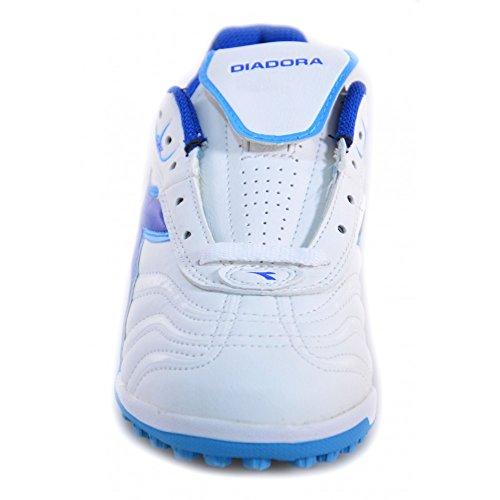 Diadora Clasico TF JR Hallenfußballschuhe Weiss und Blau Leder 156027 Weiß