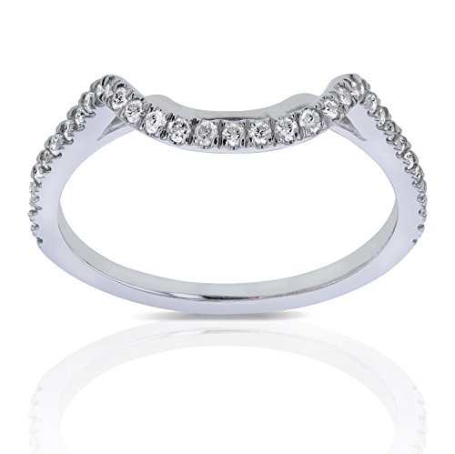 Round Diamond Contoured Wedding Band 1/5 CTW 14K White Gold