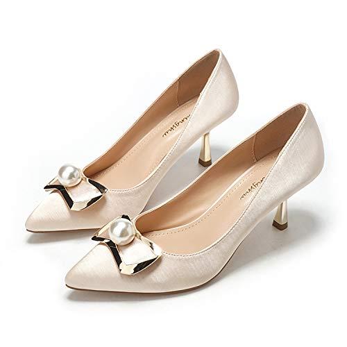 Yukun zapatos de tacón alto Tacones De Aguja Acentuados Tacón De Aguja Acentuado Estilete Bajo Temperamento Zapatos Solos Moda Bow Zapatos De Mujer Champagne