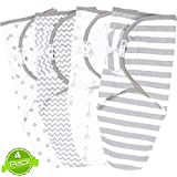 Swaddle Blanket, Adjustable Infant Baby Wrap Set of 4, Baby Swaddling Wrap Blankets Made in Soft Cotton, by BaeBae Goods ...