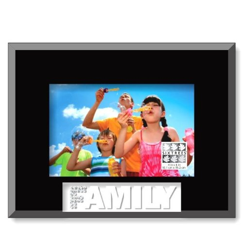 Sixtrees Family Glass Frosted Word Frame 4 by 6-Inch Black