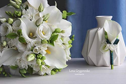 Lily Porcelain Bouquet Calla - bride set, bride bouquet, wedding bouquet, calla lily bouquet, calla lily boutonniere, bride wreath, groomsman gift, cold porcelain, white calla lily bouquet, newlyweds flowers set