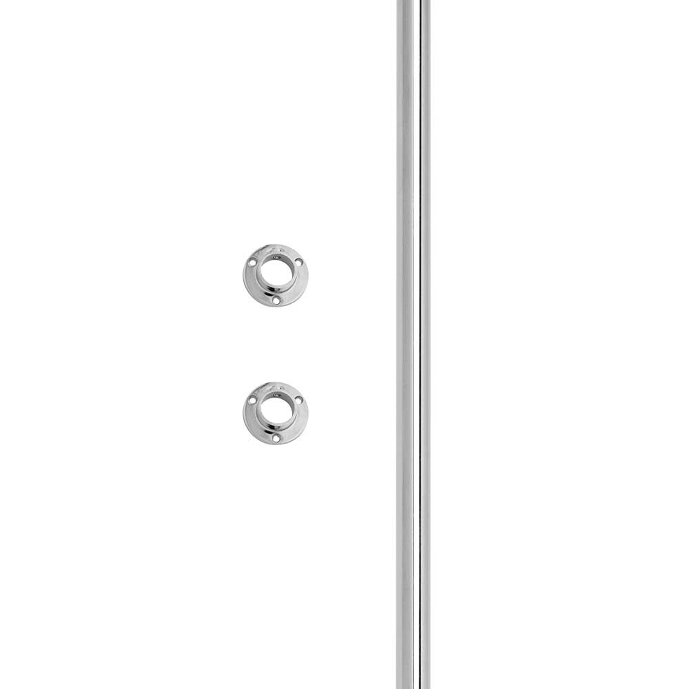 Wardrobe//Alcove Chrome Tube Rail Kit 1 m Tube and Wall Sockets