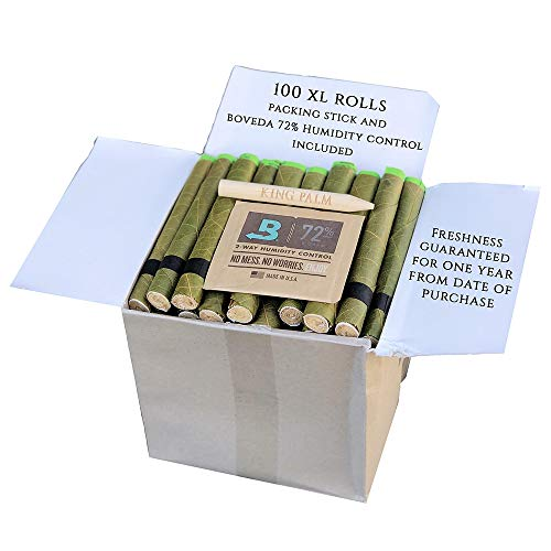 (King Palm Hand Rolled Leaf Wrap Rolls + Boveda - XL Size - 100 Count Bulk Pack)