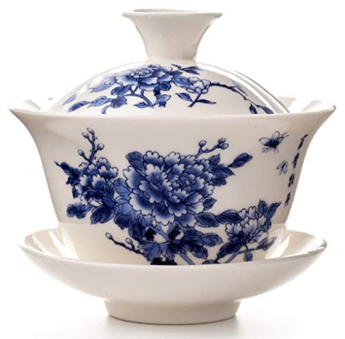 (Emoyi Peony Chinese Gaiwan Traditional Teaware Blue and White Porcelain Kungfu Teacup)