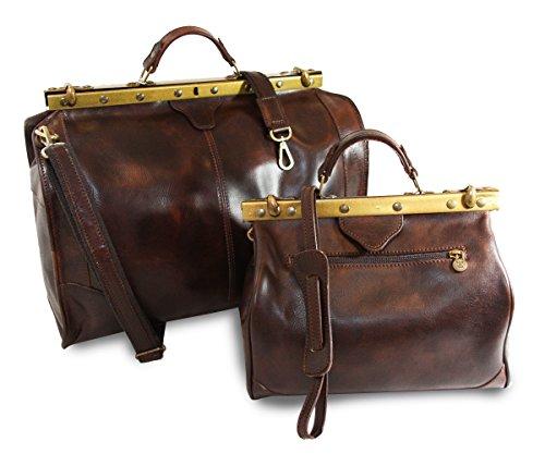 Vintage Italienische Echt Geöltes Leder Arzttasche Set, Wochenendetasche + Passende Hebammentasche ,Antik-Altbraun ,Hergestellt in Italien