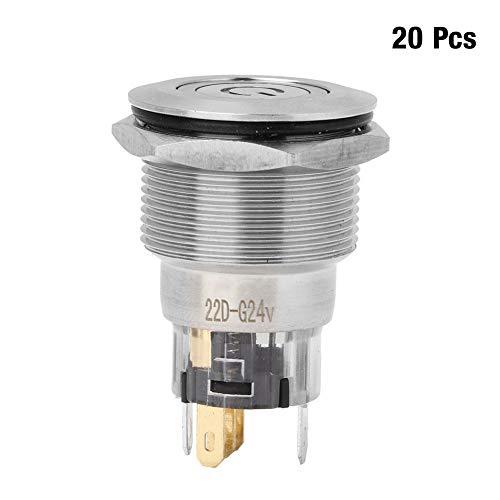 金属製押しボタンスイッチ、20個のステンレス鋼自動リセットNC + NC + Cフラットリングヘッド、家庭用電化製品の電源ラベルボタンスイッチ付き(緑)