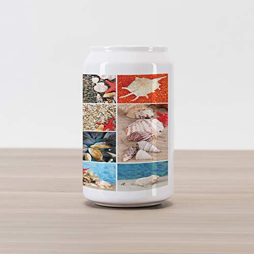(Lunarable Nautical Cola Can Shape Piggy Bank, Seashells Collage with Red Starfish Mollusk Mussel Summer Season Ocean Coast Theme, Ceramic Cola Shaped Coin Box Money Bank for Cash Saving, Multicolor)